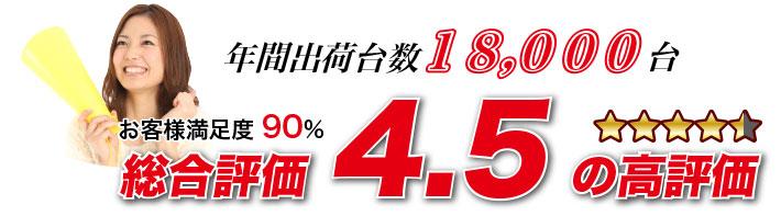総合評価4.5 お客様満足度90%